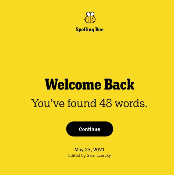NYT Spelling Bee 5-23-21 final