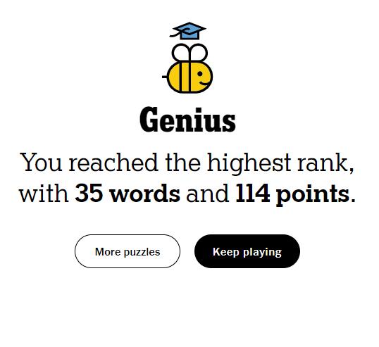 NYT Spelling Bee 6-14-21 final